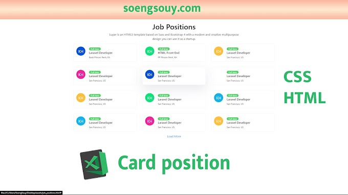 Card for a job position for web design using HTM CSS