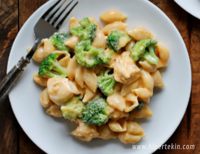 CHICKEN AND BROCCOLI SHELLS AND CHEESE