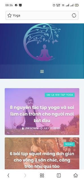 Mẫu website Yoga giao diện trên điện thoại