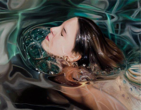 Reisha Perlmutter pinturas mulheres subaquáticas água realista