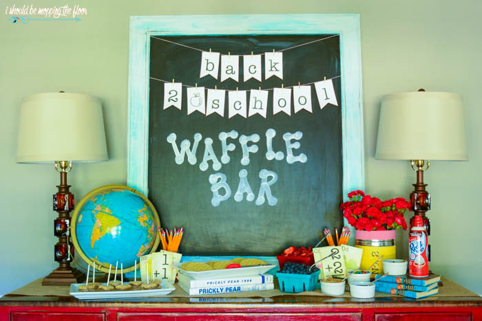 Back to School Waffle Bar | Fun ideas to build your own back to school waffle bar in your home! Free printable BACK TO SCHOOL BANNER included in post.