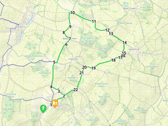 Map for Walk 102: Benington NE Loop  Created on Map Hub by Hertfordshire Walker  Elements © Thunderforest © OpenStreetMap contributors  Note: There is a larger, more-detailed map embedded at the end of these directions