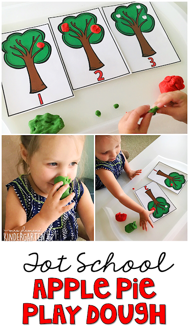 This apple scented play dough made these smushy apple counting trees extra fun. Great for tot school, preschool, or even kindergarten!