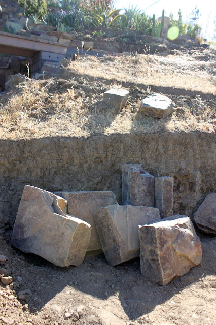 Landscape boulders waiting to be used