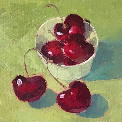 #186 'Cherries in a Green Pot' 6×6″