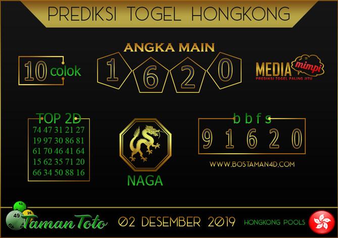 Prediksi Togel HONGKONG TAMAN TOTO 02 DESEMBER 2019