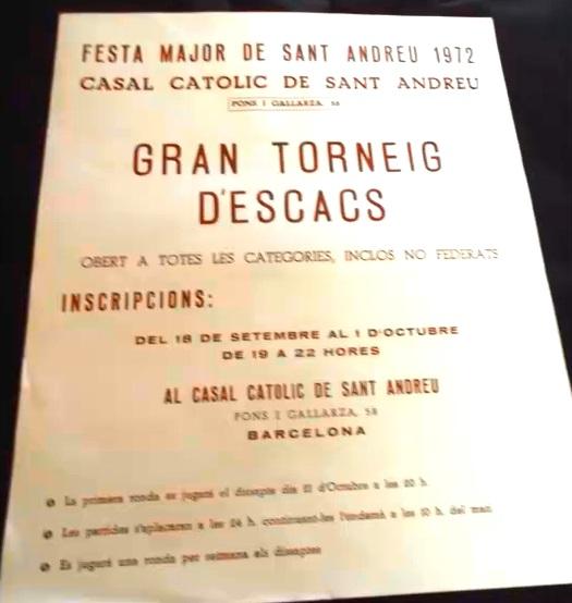 Cartel del I Abierto de Ajedrez de Sant Andreu 1972