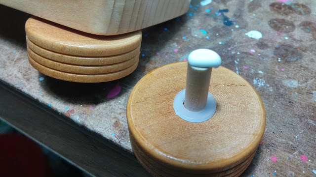 Wooden Wheel Axle Peg and Nylon Washer Ready For Gluing