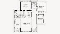 plano de casa moderna de 1 piso con sala grande y 3 dormitorios, 2 baños de 15,24 x 15,24 metros