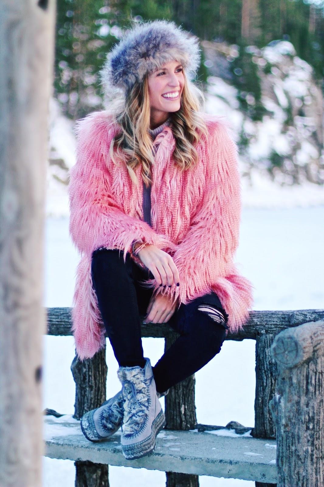 abrigo rosa pelo