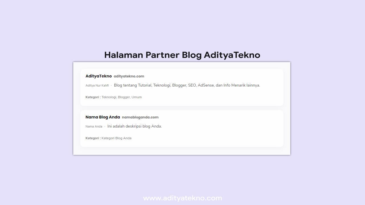 Cara Membuat Halaman Partner Blog Terbaru Responsive