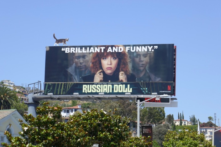 Russian Doll Emmy FYC cat cut-out billboard