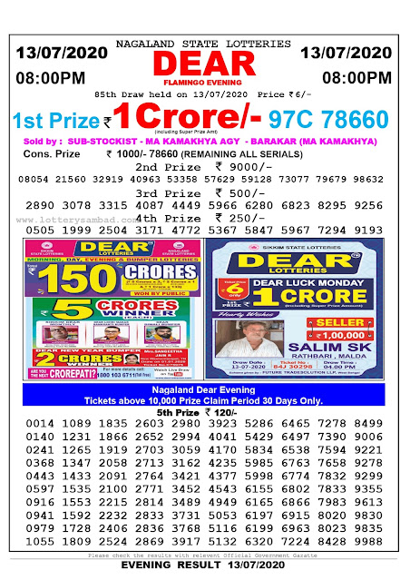 Nagaland State Lottery Sambad 13-07-2020 Today Result 8 PM