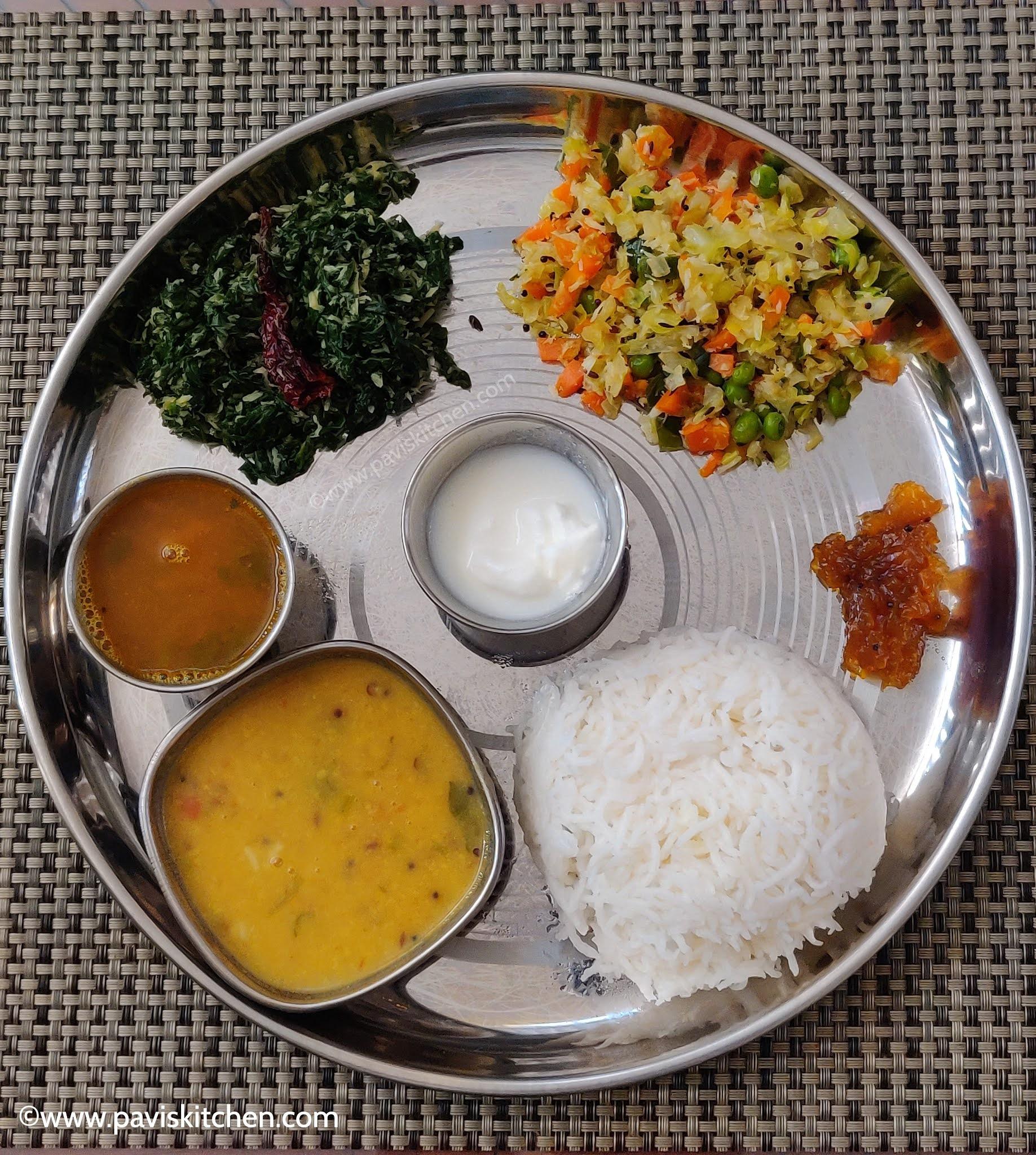 South Indian thali recipe | Indian vegetarian thali recipe | Lunch menu ideas