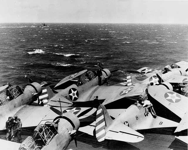 TBD-1 Devastators on USS Enterprise, 11 April 1942 worldwartwo.filminspector.com