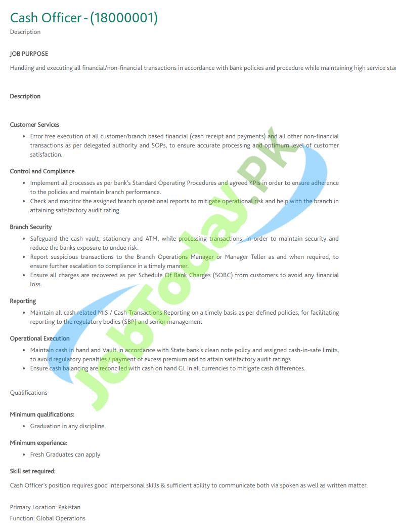HBL Cash Officer Jobs 2020
