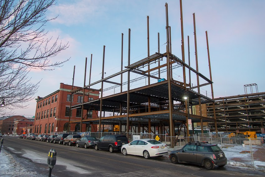 Portland, Maine USA January 2018 photos by Corey Templeton of construction around India Street and New Port Neighborhood.