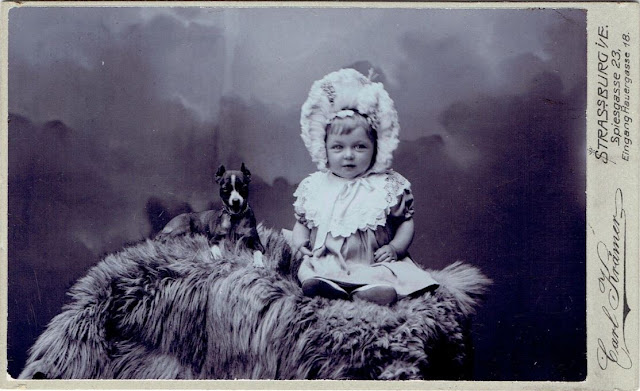 Vintage Doggy Baby With Dog Strassburg Circa 1890s