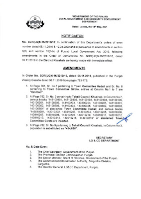 DEMARCATION OF TEHSIL COUNCILS AND ABOLISHED TOWN COMMITTEES OF DISTRICT KHUSHAB