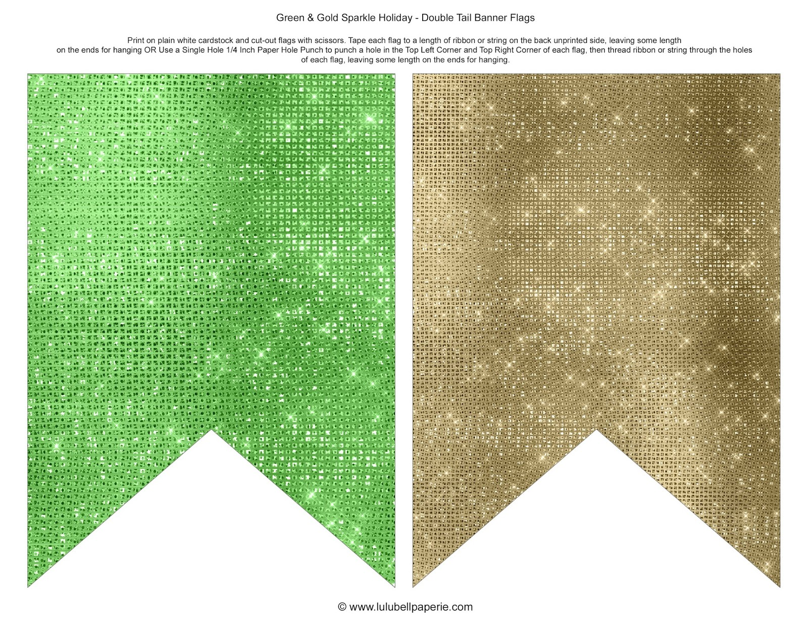 Free Christmas Holiday Bunting Banner Flags Printable - Gold and Green Sparkles