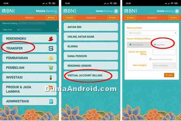 menu topup OVO di BNI mobile