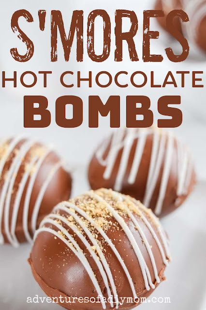 s'mores hot chocolate bombs with text overlay