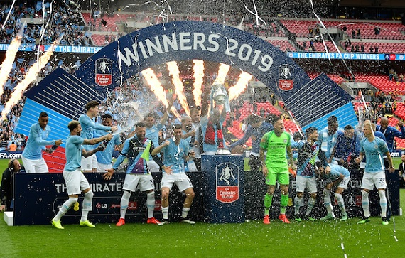 Manchester City celebrate winning the 2019 FA Cup