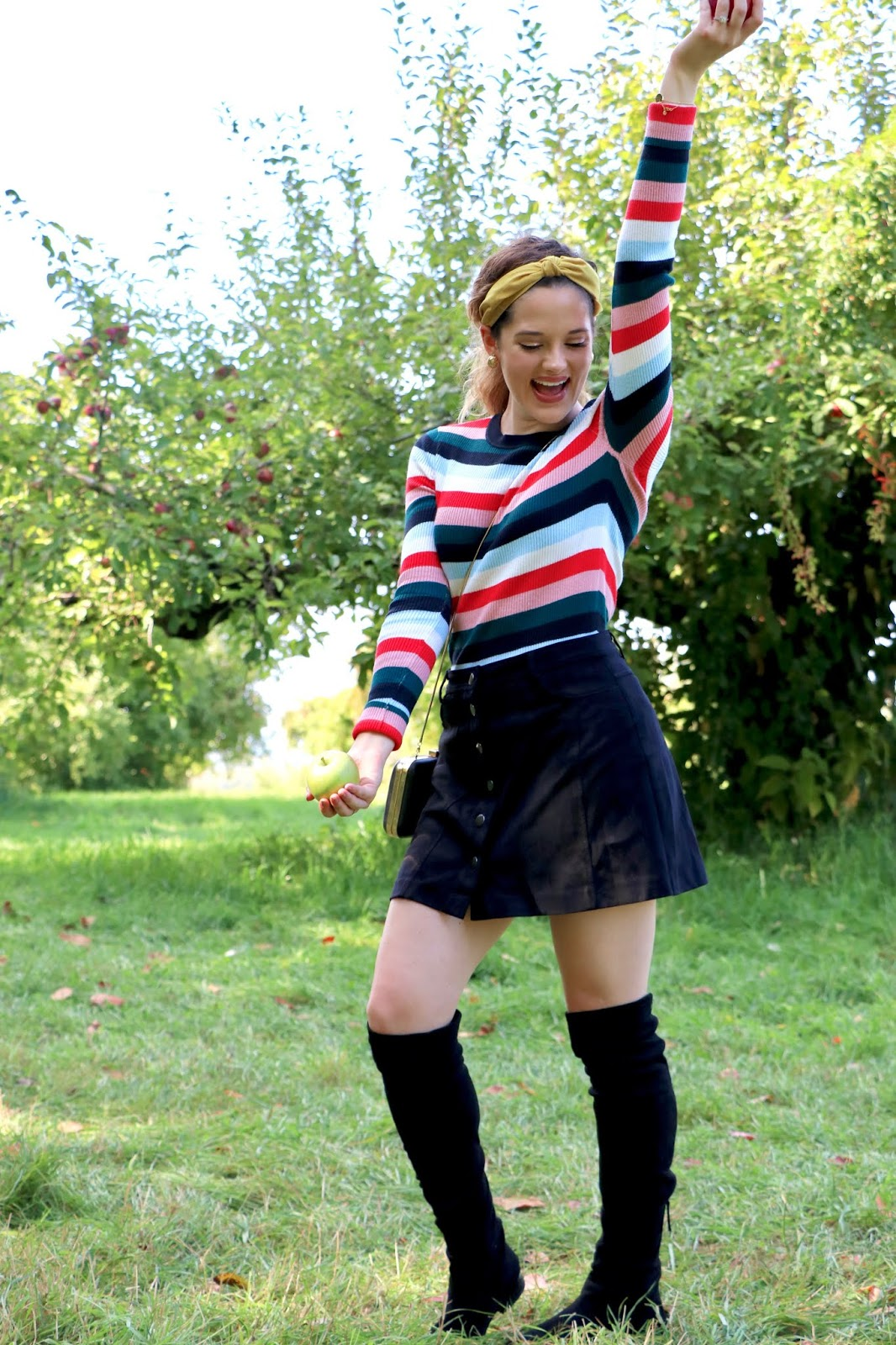Nyc fashion blogger Kathleen Harper's fall outfit idea of a striped sweater and black mini skirt.