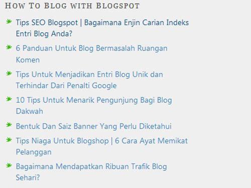 OhBlogger papar entri blog berdasarkan label di sidebar