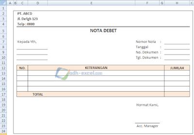 Contoh Nota Debet Dalam Excel