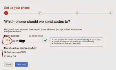 Phone number verification for gmail