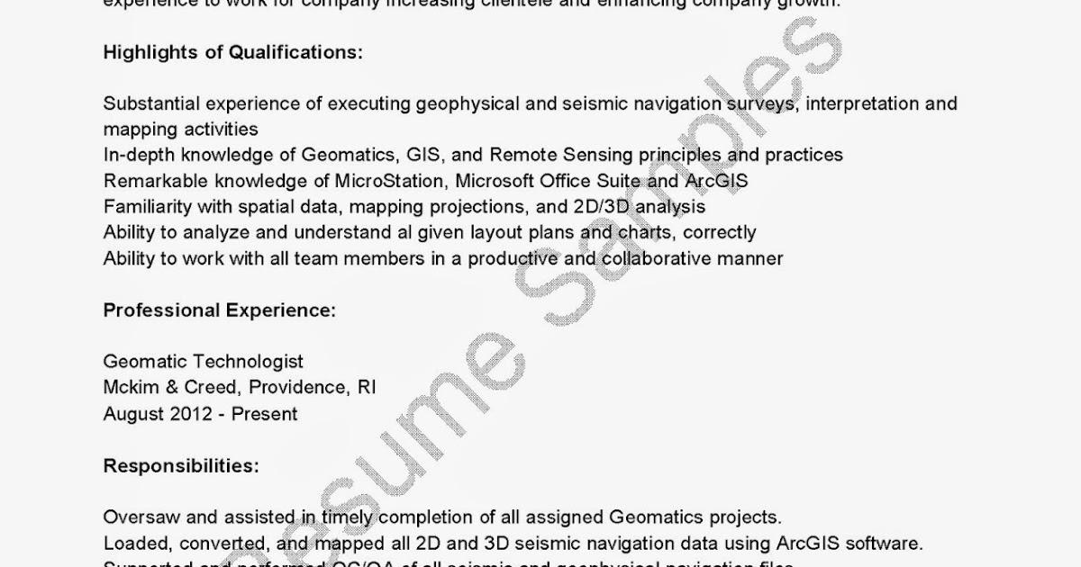 Resume Samples: Geomatic Technologist Resume Sample