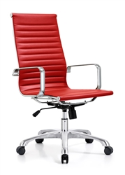Red Leather Ribbed Back Conference Chair at OfficeAnything.com
