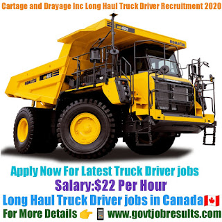 Cartage and Drayage Manitoba Inc Long Haul Truck Driver Recruitment 2020-21