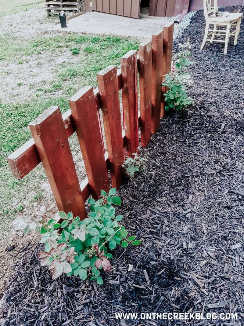 Rustic/Shabby chic fence panel with roses around it!