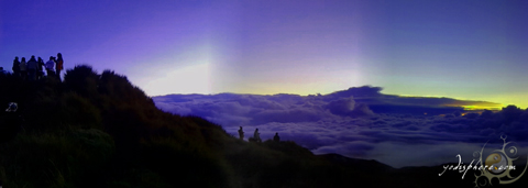 Panoramic view at the peak of Mt. Pulag before sunrise