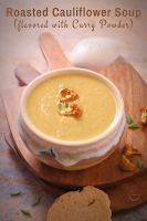 Roasted Cauliflower Soup flavored with Curry Powder