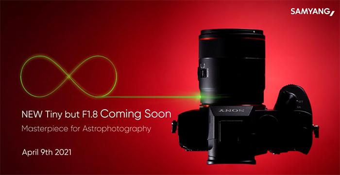 Камера Sony с объективом Samyang AF 24mm f/1.8 FE на рекламном тизере