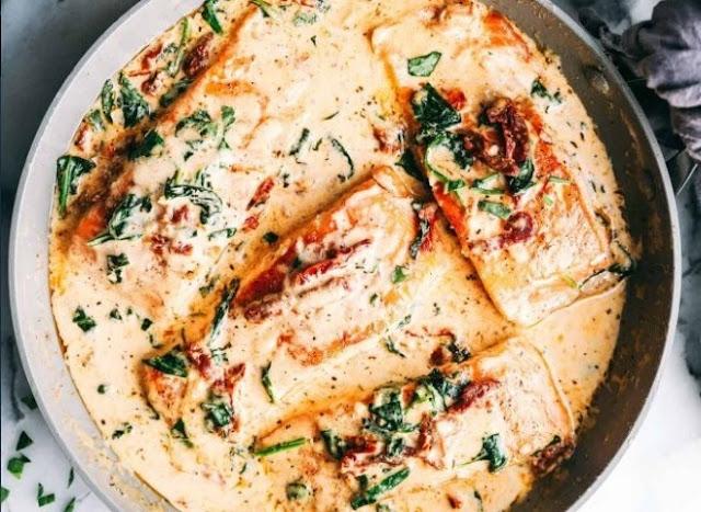 Creamy Garlic Butter Tuscan Salmon #dinner #recipes