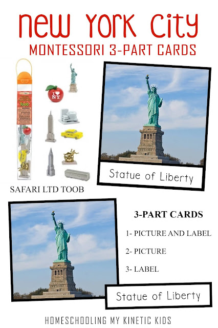 Learn about the Big Apple as you explore and play with Safari Ltd New York City (NYC) toob.  Free printable matching cards for the toob.