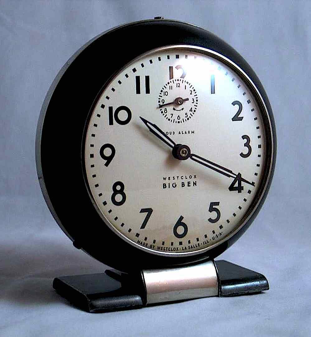"a 1940s ""Westclox Big Ben"" alarm clock designed by Henri Dreyfuss"