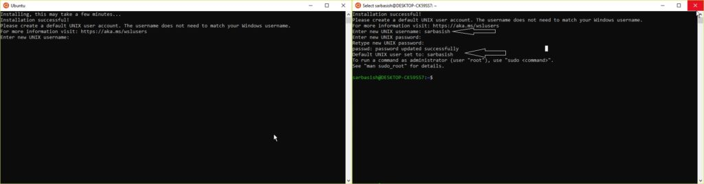 Linux Terminal commands execution on Windows 10.