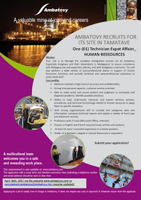 One (01) Technician Expat Affairs_HUMAN RESOURCES