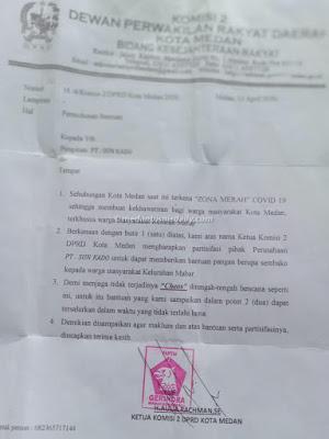 Ketua Komisi II DPRD Medan Minta Sumbangan ke Sun Kado Mabar