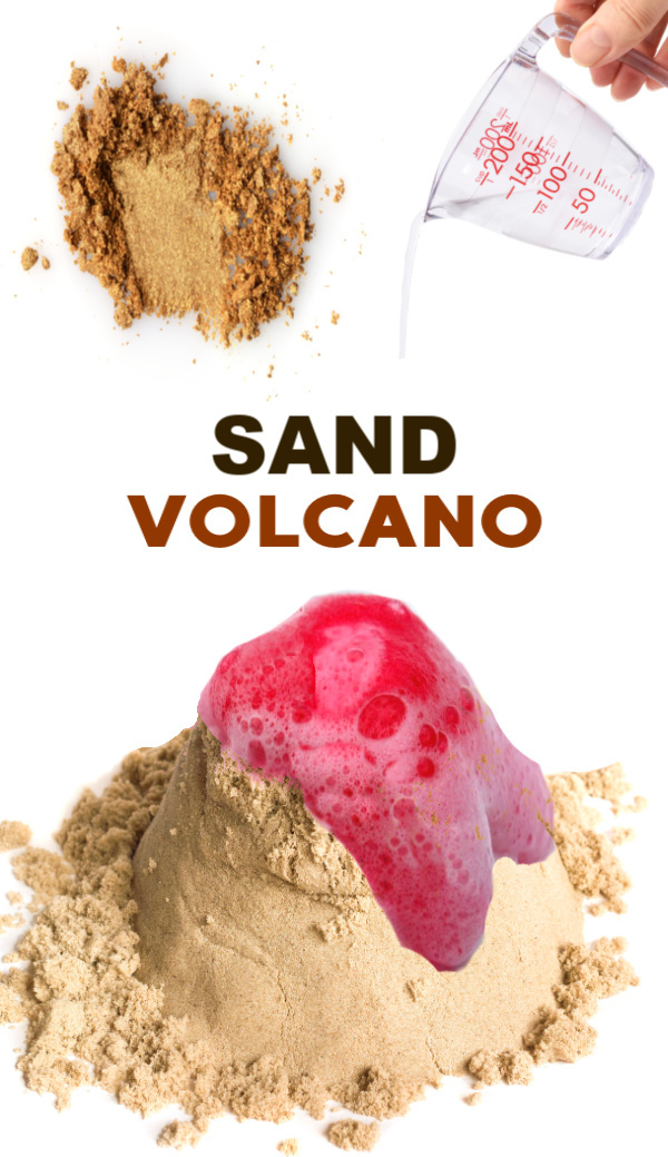 Wow the kids this summer and make a sand volcano!  A Fun science experiment for kids. #scienceexperimentskids #sandboxideas #sandvolcano #sandvolcanoprojectforkids #volcano #volcanoexperiment #howtomakeasandvolcano #growingajeweledrose