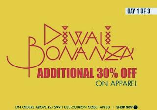 Diwali Bonanza at Myntra: Flat 30% additional off on Apparels (Men / Women) on Cart Value of Rs.1599
