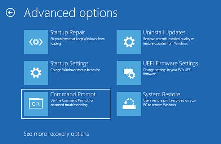Advanced option to select Command Prompt