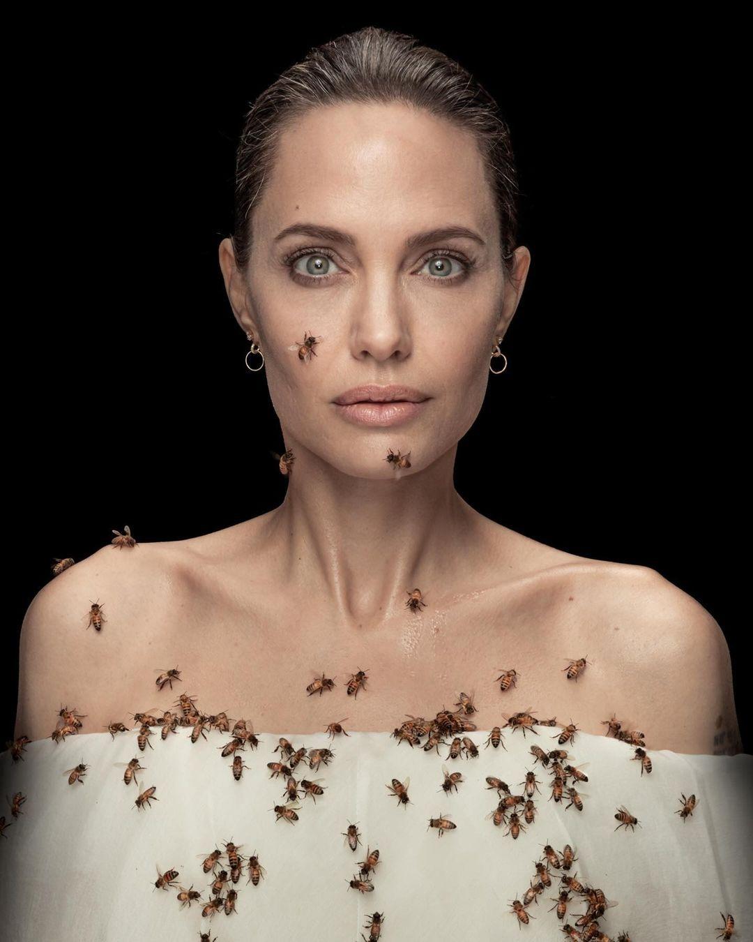 Angelina Jolie cubre todo su cuerpo con un enjambre para celebrar el Día de las Abejas