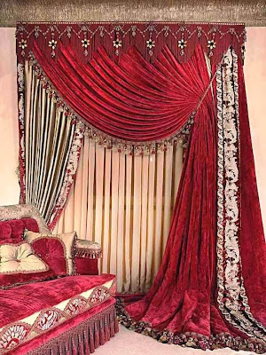 Stylishly curtains in deep red color