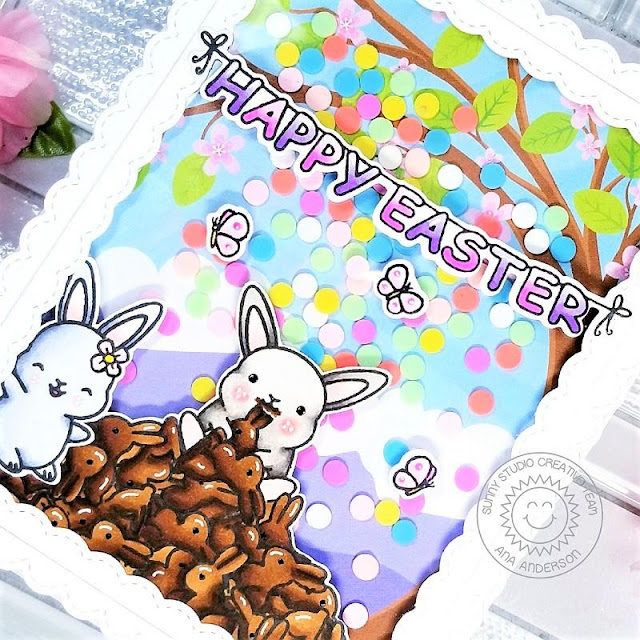 Sunny Studio Stamps: Chubby Bunny Fancy Frame Dies Easter Themed Shaker Card by Ana Anderson